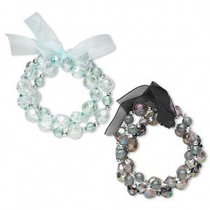 Bracelet, stretch, acrylic, glass and organza ribbon, mint green/grey/silver/black