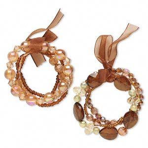 2 Bracelets -acrylic, brown/gold/amber yellow/silver, glass and organza ribbon,  7-1/2 inch