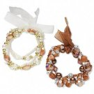 2 Bracelet, stretch, acrylic, glass, organza ribbon, brown/gold/silver/clear, 7-1/2 inch.