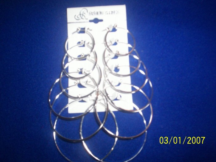 Fashion Earring - 6 pair Hoops - Shiny Silver