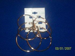 Fashion Earring - 3 pair Hoops - Shiny Gold