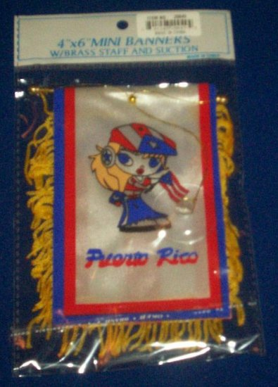 """Mini Banner- 4"""" x 6""""- Puerto Rico Flag - Girl"""