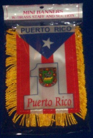 "Mini Banner- 4"" x 6""- Puerto Rico Flag #1"