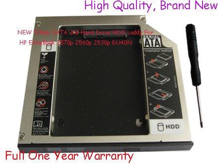 NEW 9.5mm SATA 2nd Hard Drive HDD caddy For HP EliteBook 2570p 2560p 2530p GU40N