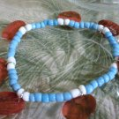 Blue & White Beaded Bracelet With Red Shell