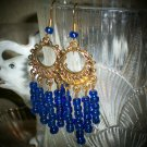 Royal Blue Dangle Glass Beaded Earrings