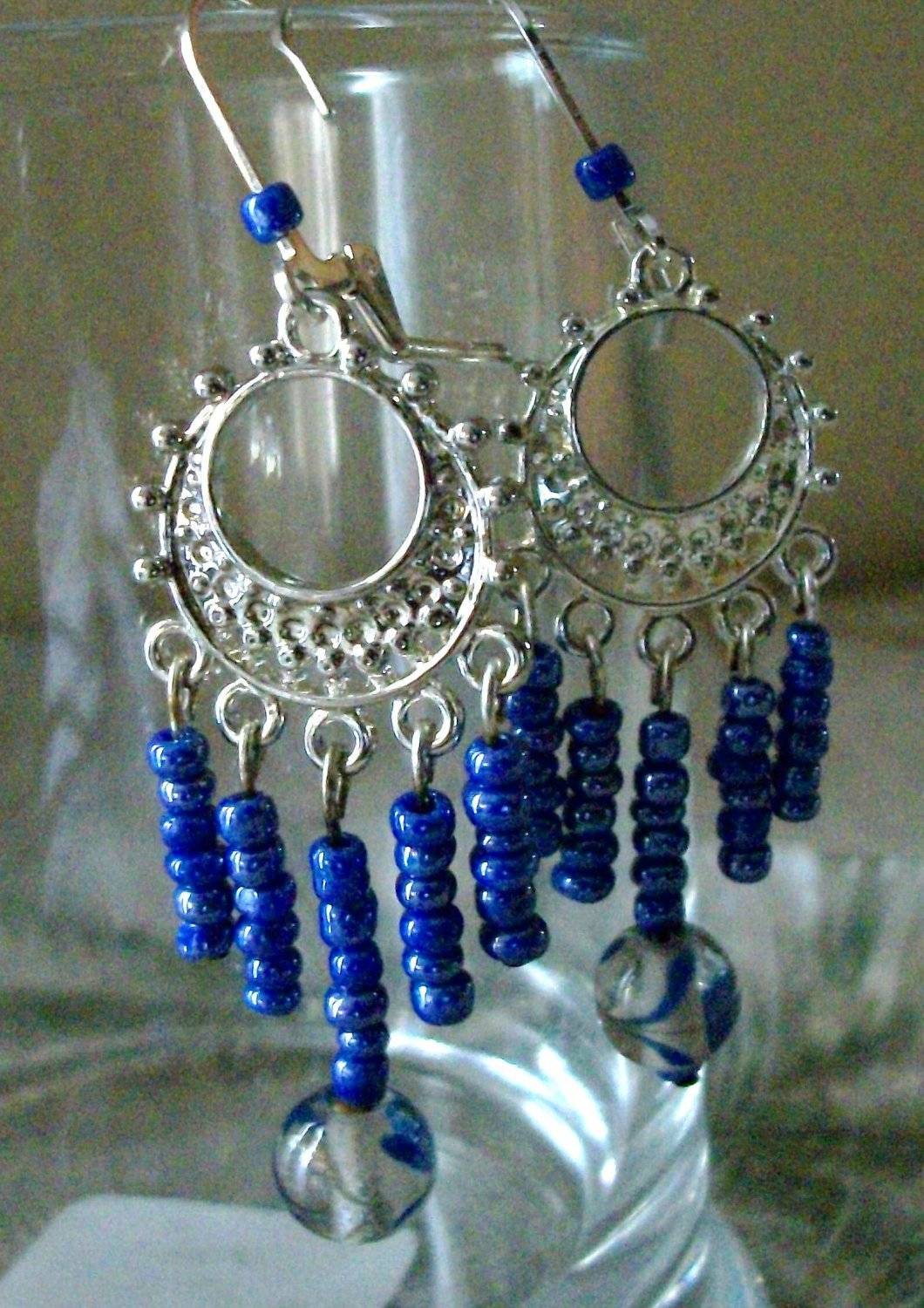 Blue & Sliver Plated Glass Beaded Earrings