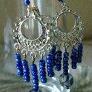 Blue & Sliver Plated Glass Beaded Earrings