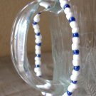 Flexible White & Blue Glass Beaded Bracelet