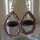 Handmade Purple Teardrop glass bead Earrings