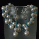 Sky Blue & Pearl Glass Beaded Earrings. Bracelets set