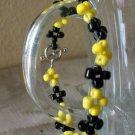 Black & Yellow Flower Bracelet