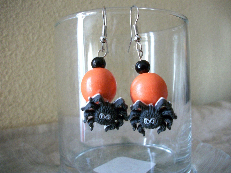 Halloween Spider Orange Beaded Earrings