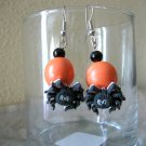 Halloween Spider Orange Beaded Earrings