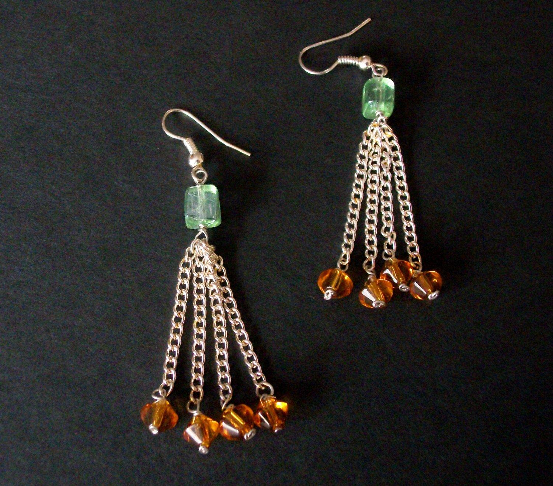 Handmade Green & Orange Tassel Earrings