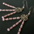 Handmade Pink & Silver Dangle Earrings