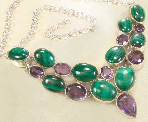 Amethyst and Malachite Necklace