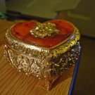 Vintage Footed Gold Brass Trinket Jewelry Box  Amber Top with Gold Rose  #00011
