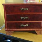 Wooden Two Drawer Lift Up Lid Footed Jewelry Box  #00013