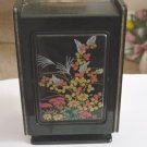 Vintage Oriental Plastic Black Jewelry Box with Mirror #00041