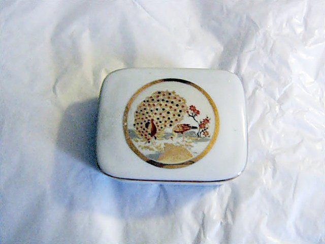 Beautiful Porcelain Trinket Box with Golden Peacocks #00067