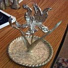 Vintage Silver Plated Flower Ring Holder and Tray #00070