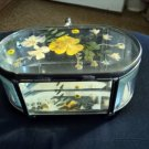 Beveled Oval Glass Casket Jewelry Trinket  Box Pressed Flowers  #00079