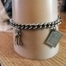 """Silver Single Link Charm Bracelet with Scissors, Keys, Key & Heart and Daily Diary Charms 7"""" #00064"""
