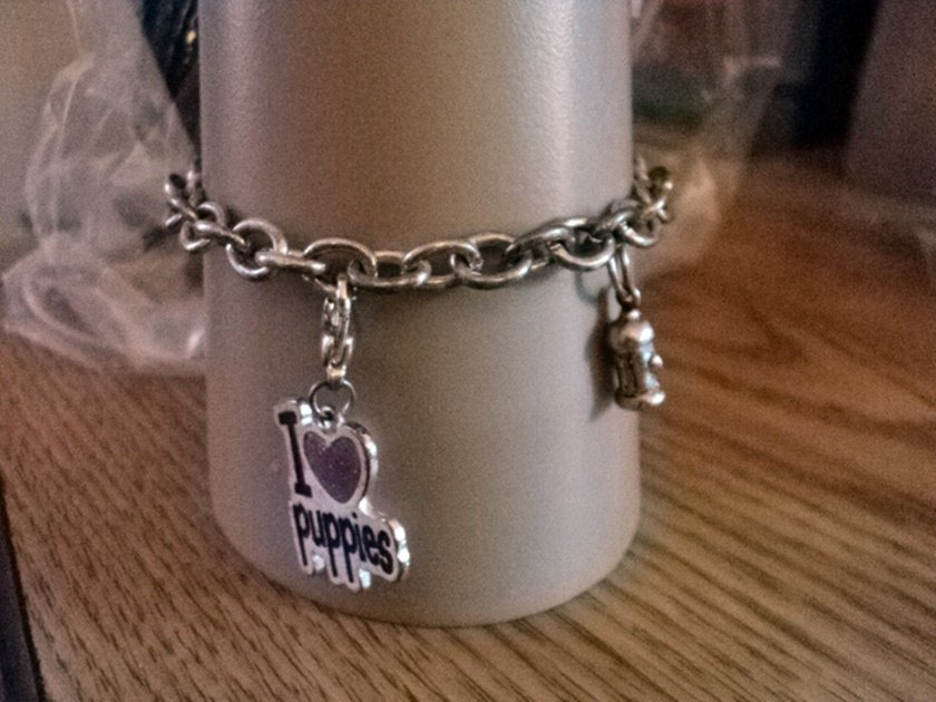 """Claire's 7"""" Silver Charm Bracelet I Love My Puppy and Fireplug Charms #00193"""