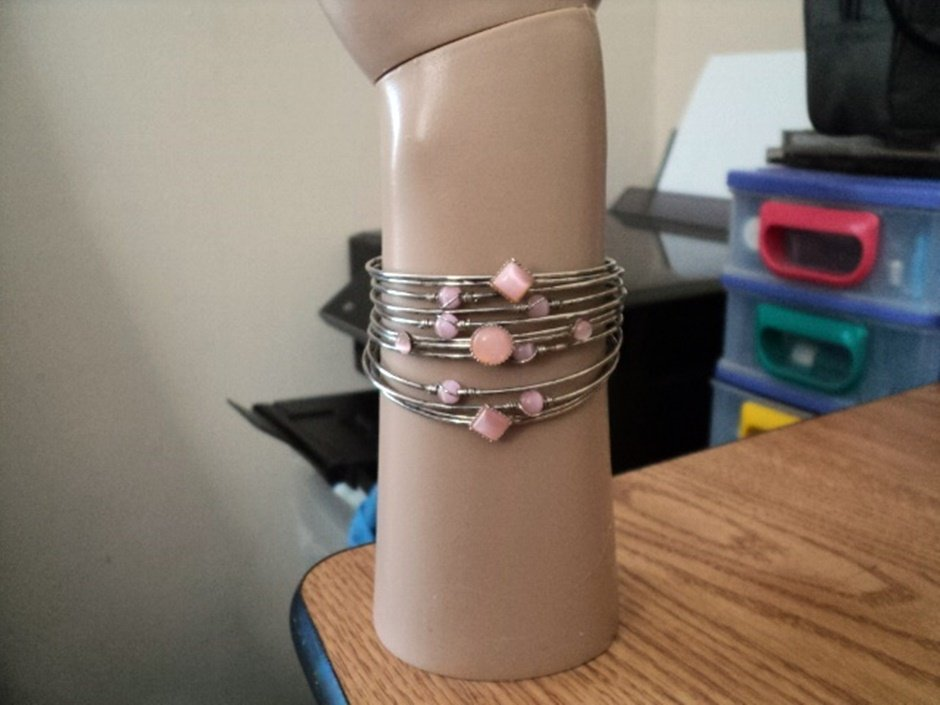 Silver Wire Strands Cuff Bracelet with Circular and Diamond Shaped Pink Stones  #00088