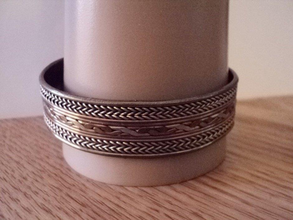 Two Tone Brass and Copper Cuff Bracelet   #00086