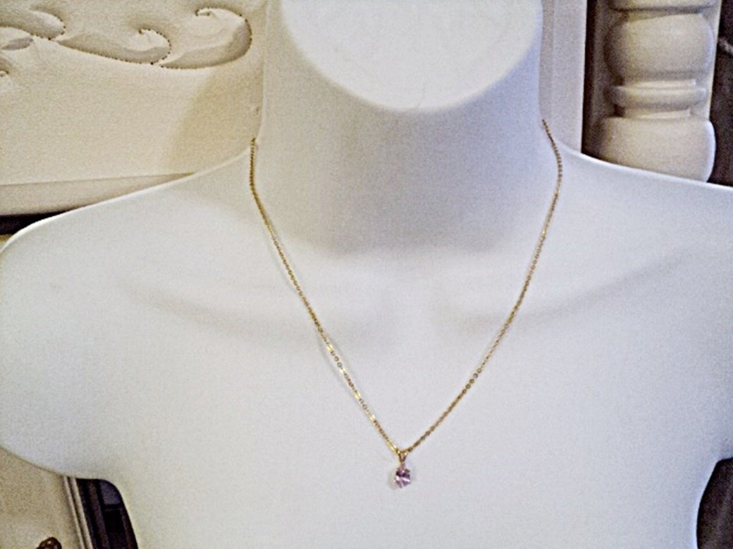 Delicate Gold Tone 8 3/4 Inch Chain and Teardrop Pink Zirconia Pendant Necklace #00207