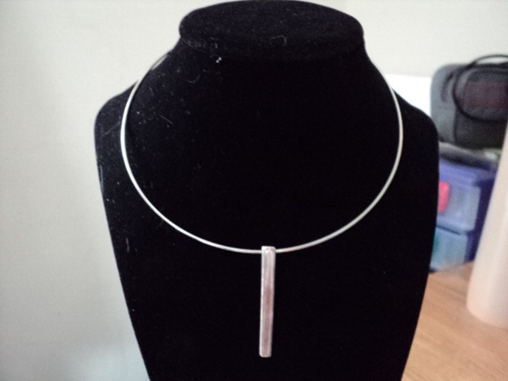 Silver Wire Choker Long Silver Pendant Necklace  #00161