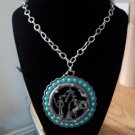 Vintage Circle Silver Pendant Turquoise Beads and American Indian Decorations Necklace #00157