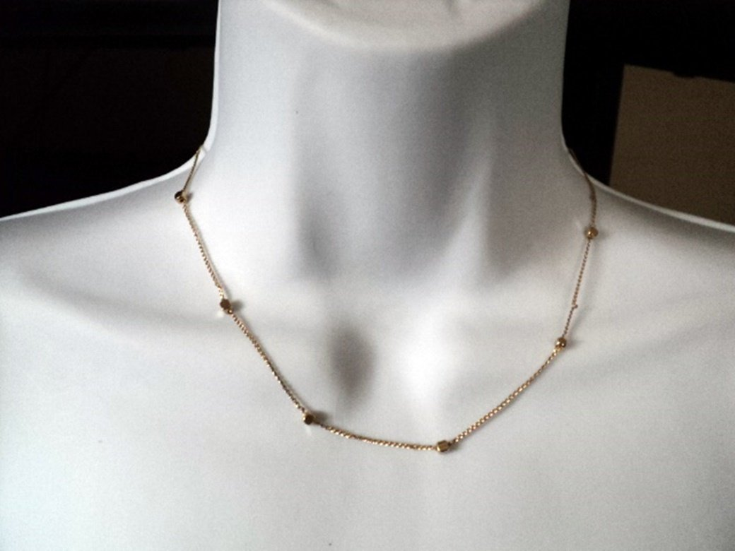 Beautiful Gold Tone Gem-Ni Chain with Golden Squares Necklace  #00152