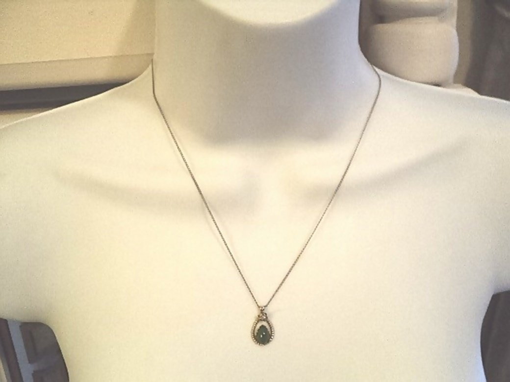 Vintage Gold Jade and Diamond Pendant Necklace #00051