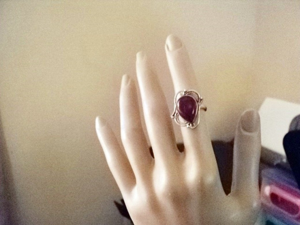 Silver Ring with Red Onyx Stone Size 6 #00028