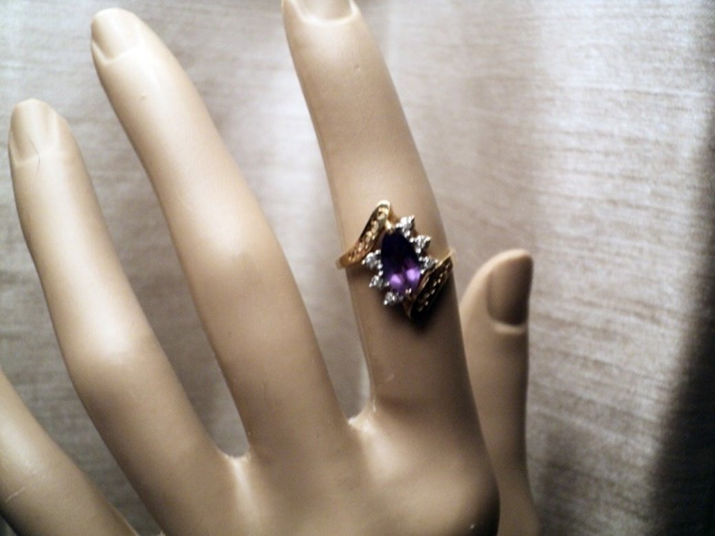 10K Gold Ring with Amethyst Stone and Six Diamonds Ring  #00014