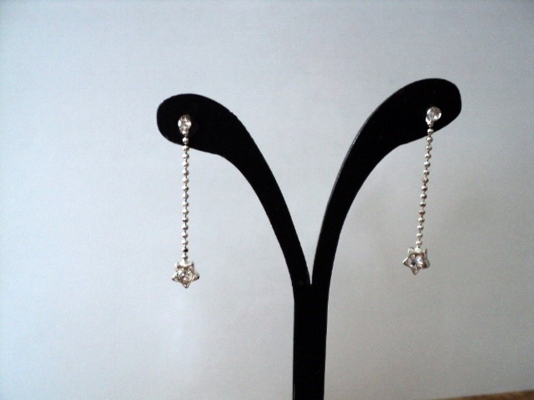 Delicate White Stag Silver Tone Rhinestone and Chains Dangle Earrings  #00221