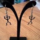Silver Tone Stick Man Dangle Earrings  #00219