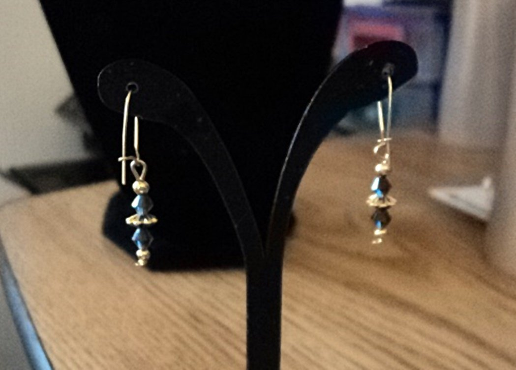 Gold Tone Wire Earrings with Blue Bead Dangles #00131
