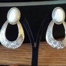 Silver Tone Post Earrings with Loop Bottom and Mother of Pearl Stone Top #00059