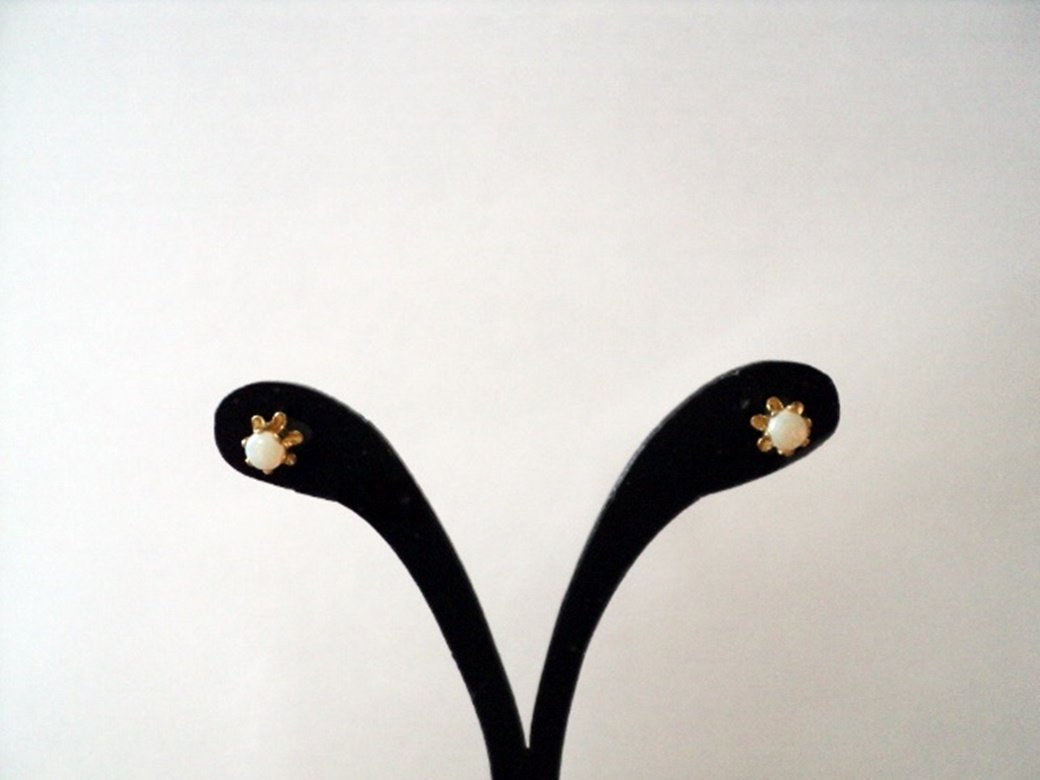 Gold Mother of Pear Stud Earrings #00023