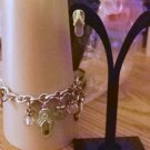 Single Link Silver Charm Bracelet with Jeweled Flip Flops and Bead Charms and Post Earrings #00057