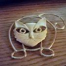 Large Gold Tone Cat Brooch #00202