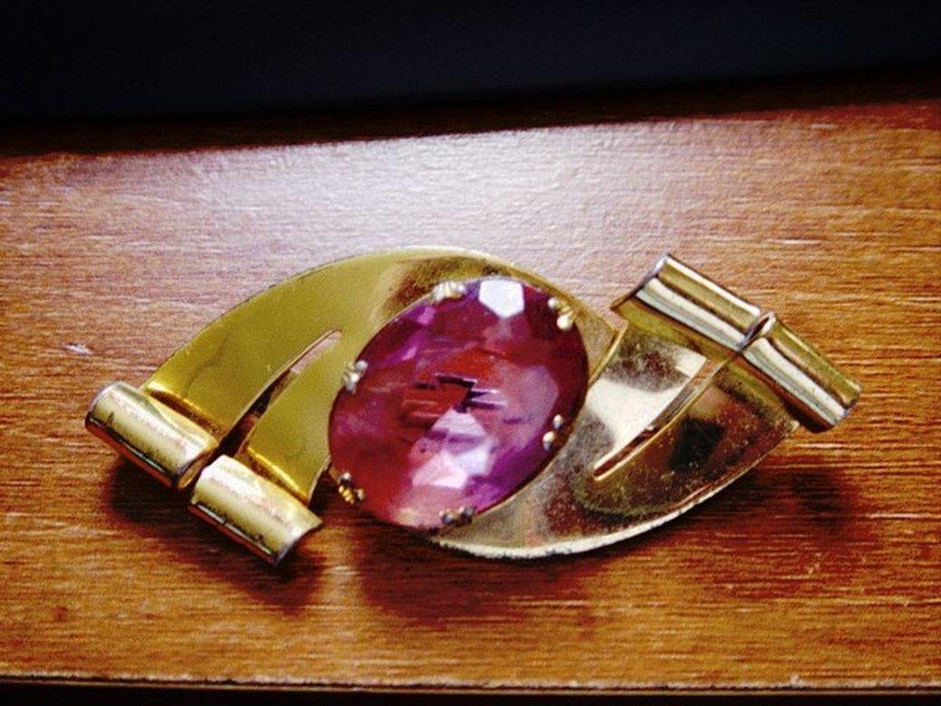 Vintage Sterling Craft Co Brooch Gold Plate Large Pink Stone #00175
