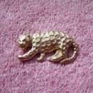 Gold Tone Growling Leopard Brooch  #00174