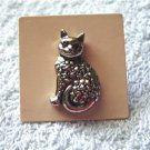 Small Delicate Avon Precious Pet Cat Pin Brooch Pewter #00172
