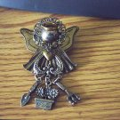 Brass Gardening Angel Brooch with Small Hand Hoe, Claw and Flower Pot Charms  #00060