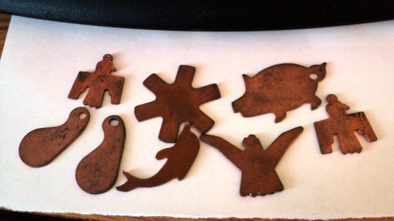 Eight Copper Cutout Charms or Pendants #00096